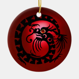 SNAKE DRAGON  Black and Red Ruby Round Ceramic Decoration