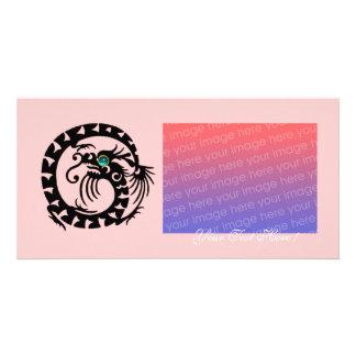 SNAKE DRAGON ,Blue Turquase Aquamarine pink Personalized Photo Card