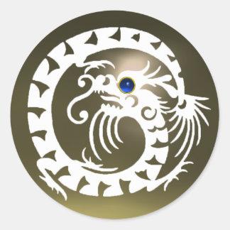 SNAKE DRAGON ,white ,blue sapphire ,grey agate Round Sticker