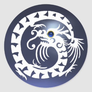 SNAKE DRAGON ,white ,blue sapphire ,topaz Round Sticker