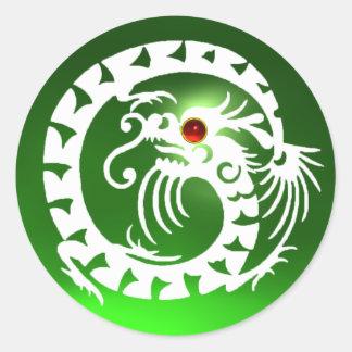 SNAKE  DRAGON  white ,emerald green ,red ruby Round Sticker