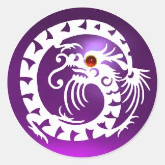 SNAKE  DRAGON , white, purple amethyst ,red ruby Round Sticker