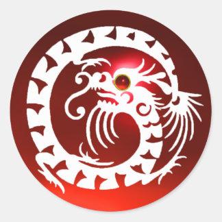 SNAKE  DRAGON , white ,red ruby Round Sticker