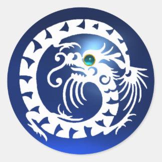 SNAKE DRAGON ,white sapphire ,aquamarine blue Round Sticker