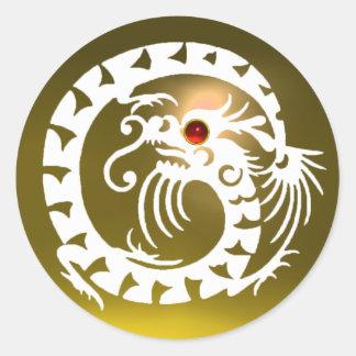 SNAKE  DRAGON , white, yellow topaz,red ruby Round Sticker