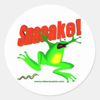 SNAKE! 'fraidy frog Round Sticker