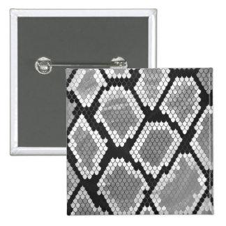 Snake Gray, White and Black Print 15 Cm Square Badge