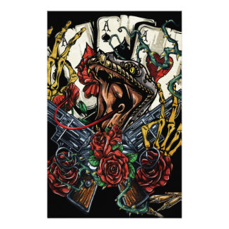 Snake Gun And Roses Poker Cards Custom Stationery