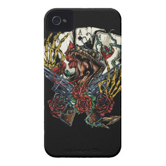 Snake Gun And Roses Poker Cards iPhone 4 Case