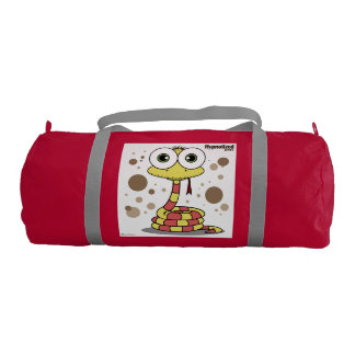 Snake Gym Bag, Red with Silver straps Gym Duffel Bag