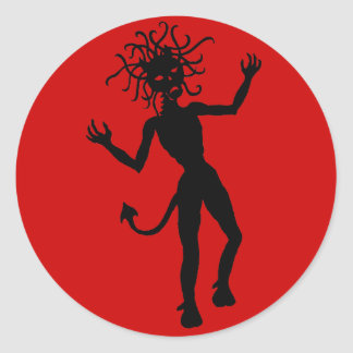 Snake Haired Demon Round Sticker