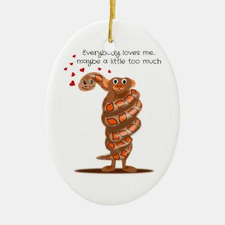 Snake Hugging Monkey Everybody Loves Me Christmas Ornament