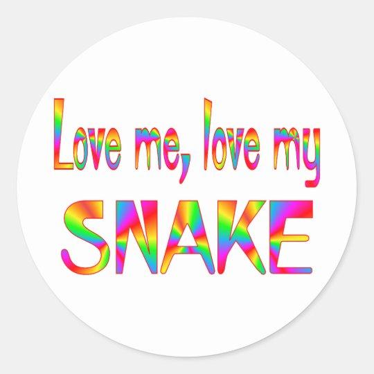 Snake Love Classic Round Sticker