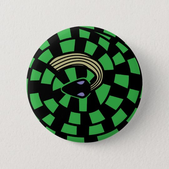 Snake - Optical Illusion (green) 6 Cm Round Badge