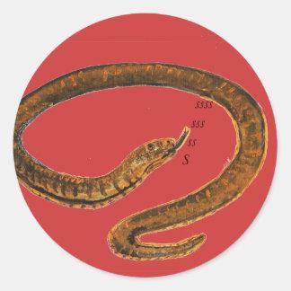 Snake painting classic round sticker