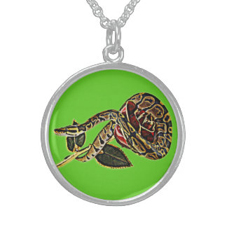 Snake & Rose Pendent - Gothic Design Art Sterling Silver Necklace