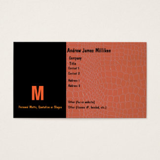 Snake Skin Coral with Initial Business Card