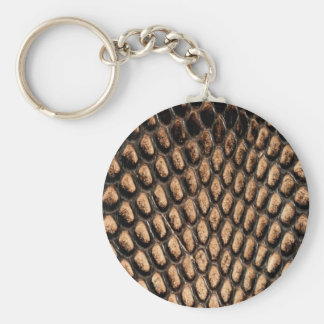 Snake skin print basic round button key ring