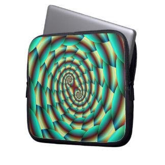 Snake Skin Spiral in Green and Yellow Laptop Sleev Laptop Sleeve