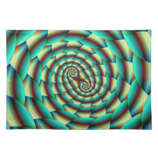 Snake Skin Spiral in Green and Yellow Placemats