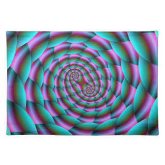 Snake Skin Spiral in Turquoise and Pink Placemats