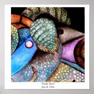 """snake, """"Snake Maze""""Jose A. Ortiz Posters"""