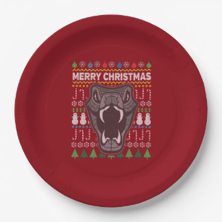 Snake Wildlife Merry Christmas Ugly Sweater Paper Plate