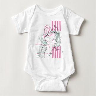 Snake woman design linear psychodelic graphic baby bodysuit