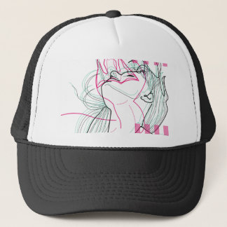 Snake woman design linear psychodelic graphic trucker hat