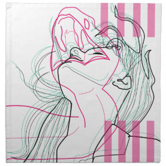 Snake woman linear graphic design napkin