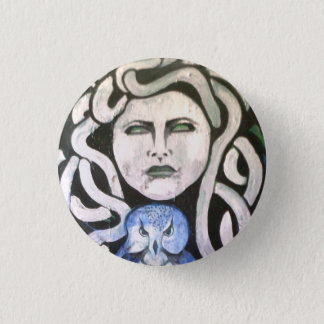 snake woman with owl. 3 cm round badge