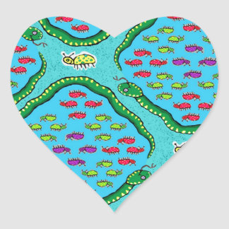 snakes and dead bugs heart stickers