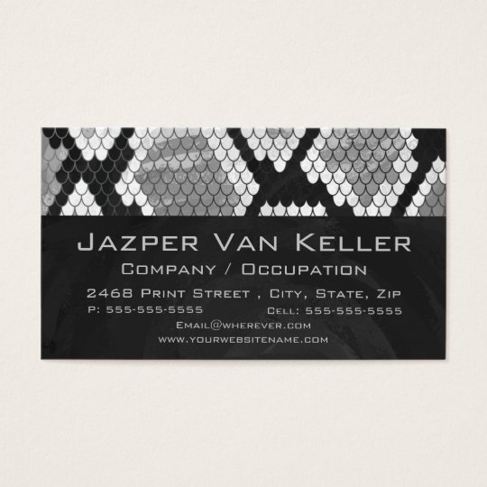 Snakeskin Grey, White, and Black Monogrammed Business Card
