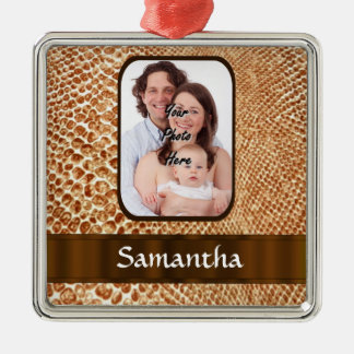 Snakeskin look custom photo christmas ornament