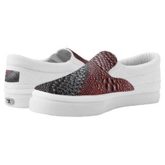 Snakeskin texture slip on shoes