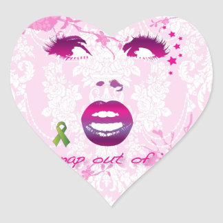 Snap out of it pop art face for mental health. heart sticker