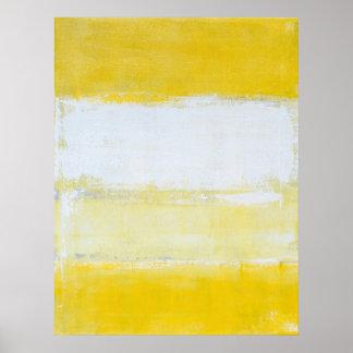 'Snap Shot' Grey and Yellow Abstract Art Poster
