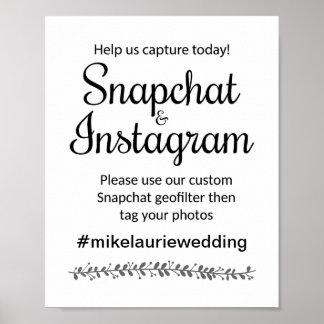 Snapchat Instagram Hashtag Wedding Sign -Rochester