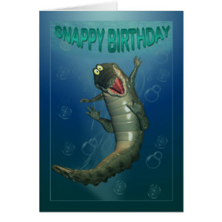 Snappy Birthday Happy Crocodile Underwater View Greeting Card