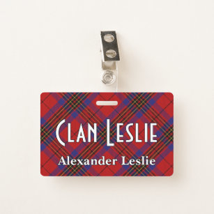 81c4c27c4daf Snappy Clan Leslie Red and Blue Tartan ID Badge