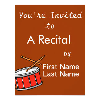 Snare Drum Red 11 Cm X 14 Cm Invitation Card