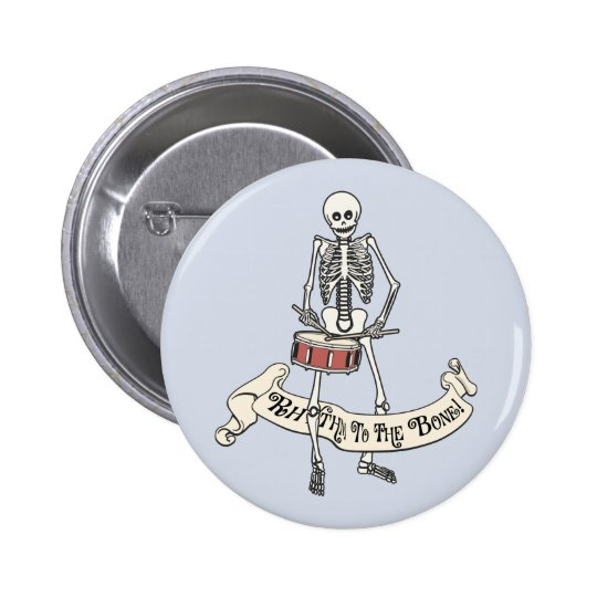 Snare Drum Skeleton 6 Cm Round Badge