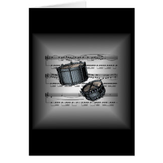 Snare Drums ~ 3-D Sheet Music  ~ Silver & Black Card