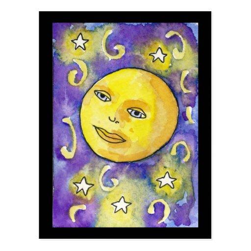 Snarky Moon and Stars Postcard