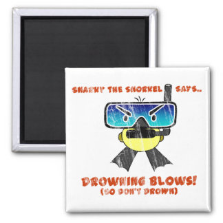 Snarky the Snorkel - Retro Square Magnet