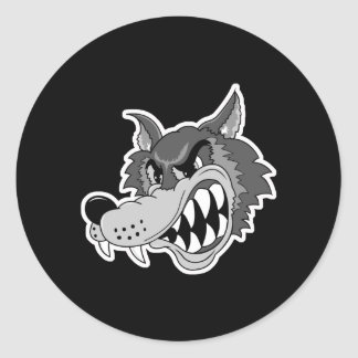 snarling grey wolf face round sticker