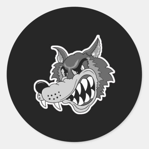 snarling grey wolf face sticker