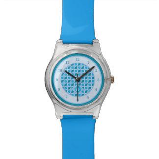 Snazzy Aqua Blue Diamond Pattern Custom Monogram Watches