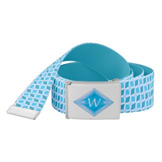 Snazzy Aqua Ice Diamond Pattern Monogram Belt