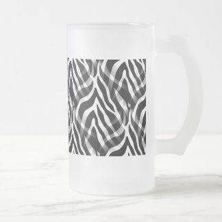 Snazzy Black and White Zebra Stripes Print Frosted Glass Beer Mug